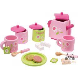 Teás készlet fából - rózsaszín